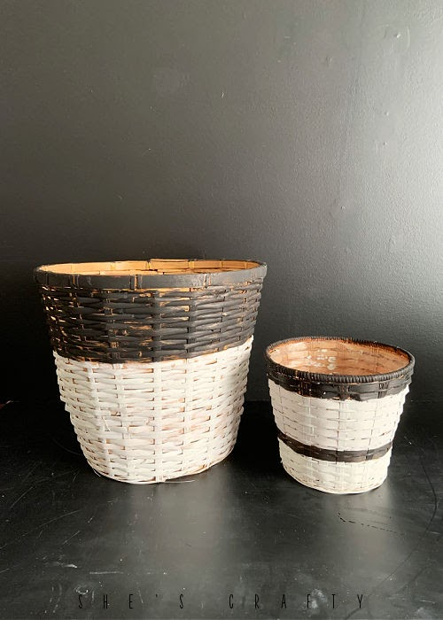 Baskets from the thrift store painted for house plant containers.