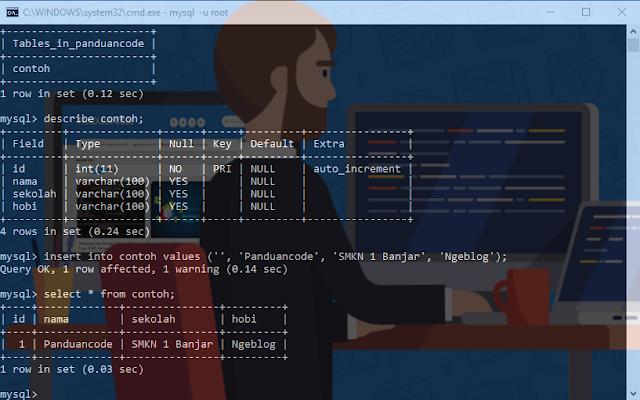 cara membuat database di cmd