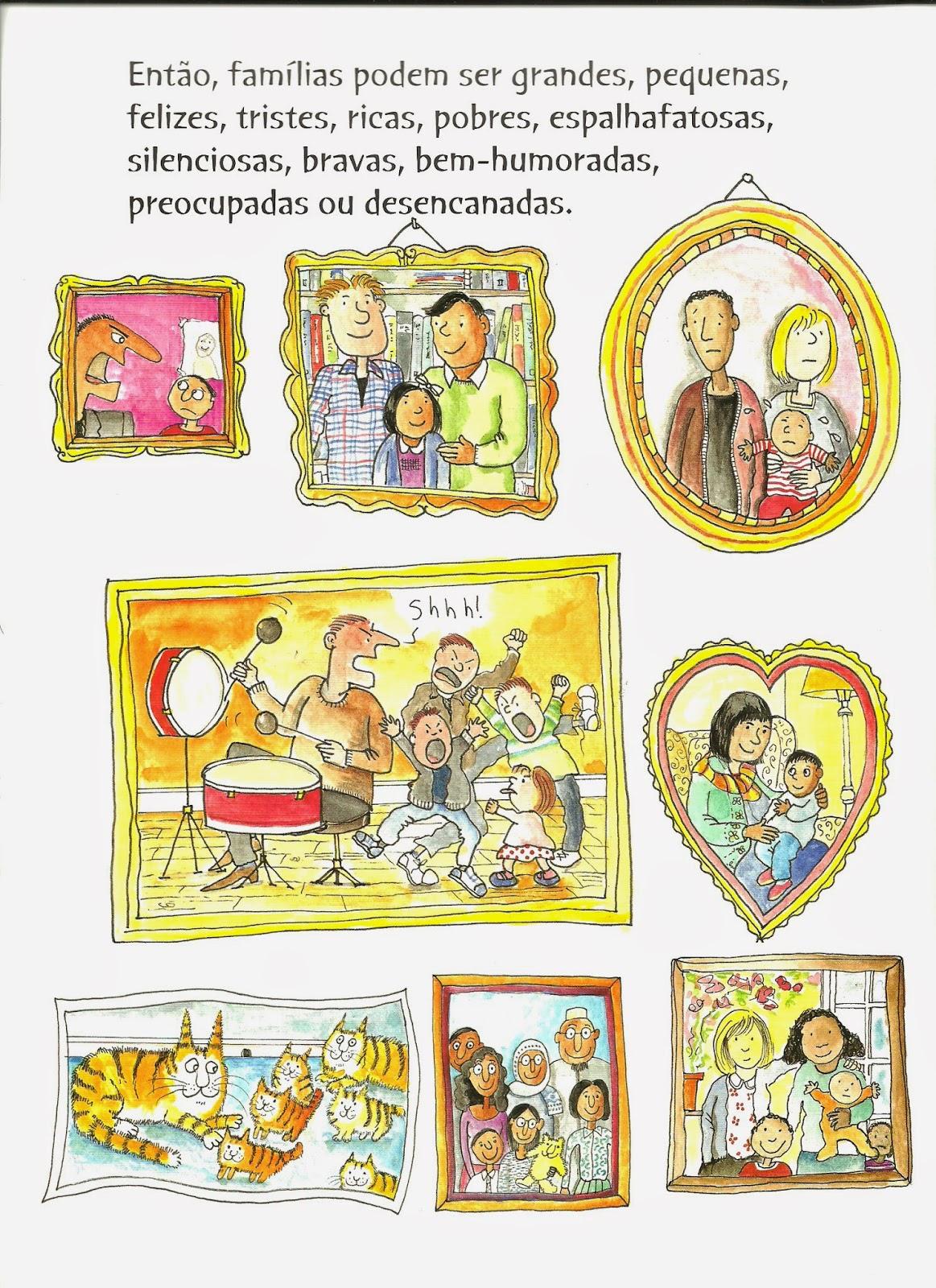 44b34a21d51 Estas duas páginas do livro (acima e abaixo) apresentam molduras que  mostram o estado de humor das diferentes famílias. As duas famílias  homoafetivas são ...