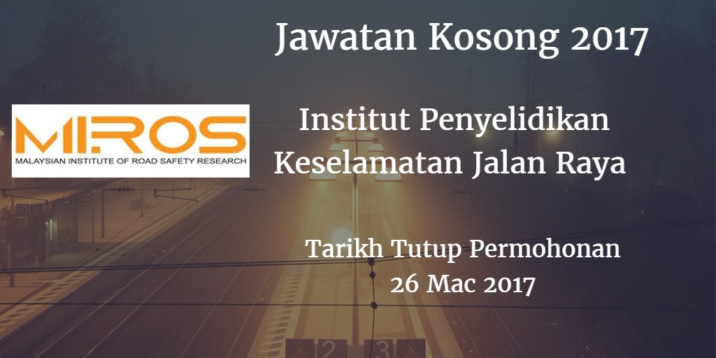Jawatan Kosong MIROS 26 Mac 2017