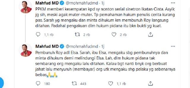 PKS: Wajar Publik Kritik Mahfud MD Nonton Sinetron Ikatan Cinta Saat Covid-19 Mengganas