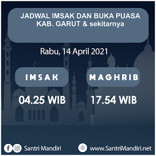 Jadwal Imsak, Buka Puasa, Sahur dan Waktu Shalat untuk Garut dsk, Hari Rabu 14 April 2021