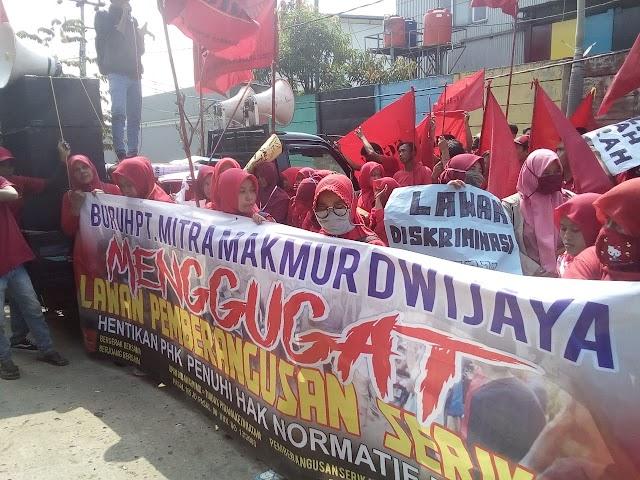 Tuntut Upah Layak, Ratusan Buruh  PT Mitra  Makmur Dwi Jaya Gelar Aksi