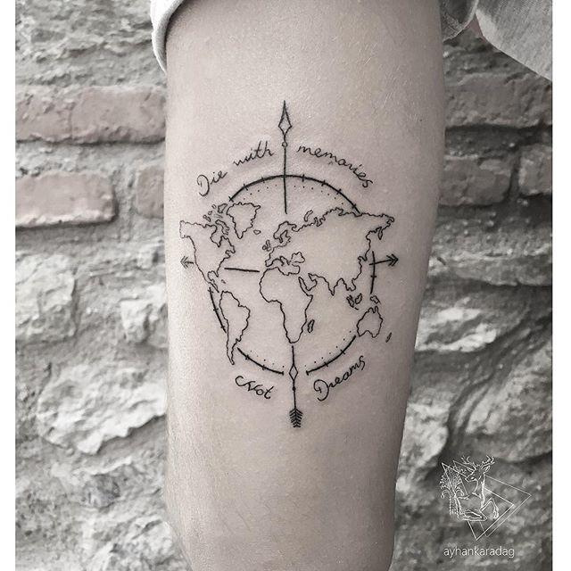 earth tattoo on forearm