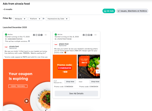 how to get airasia food promo code using facebook ad library