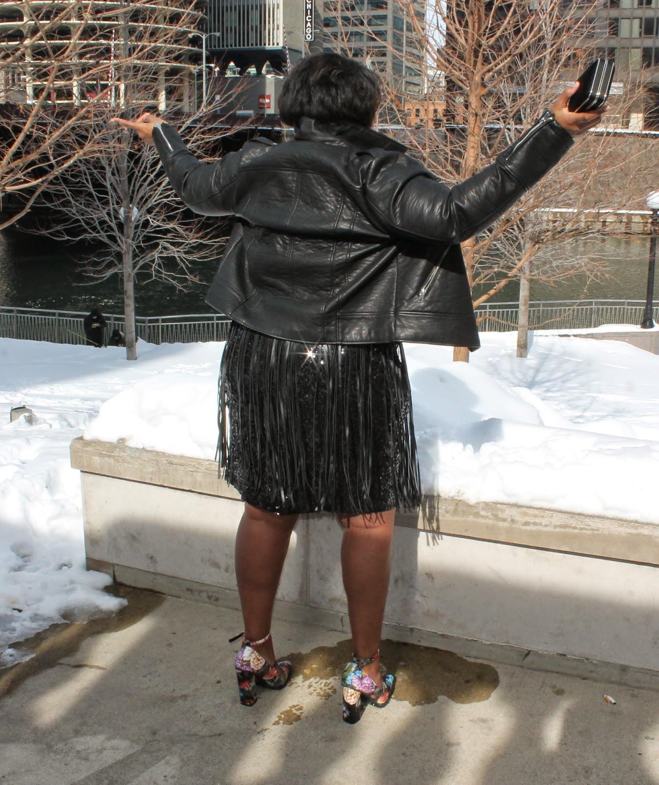 Valentines Day Style Rocker Chic Plus Size Sequins Fringe Floral Block Heel Pump