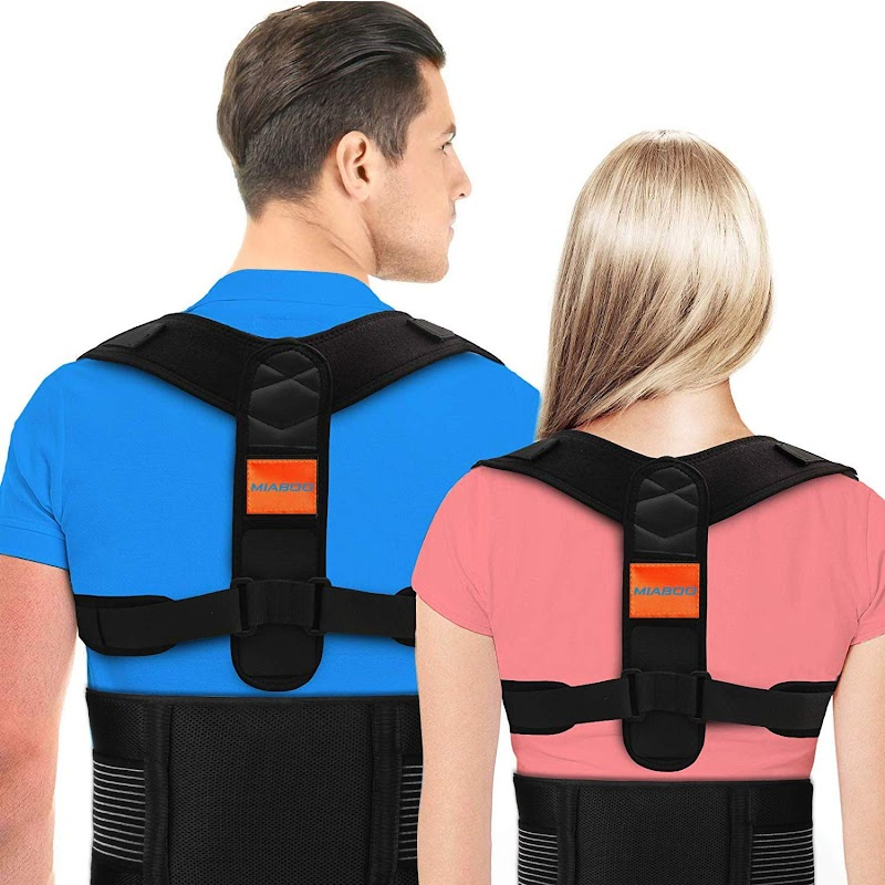 50% off MIABOO Posture Corrector for Men and Women,Upper Back Brace with Shoulder and Lumbar Support Belt,Adjustable Back Straightener and Providing Pain Relief from Neck, Back,Shoulder&Lumbar(Universal)