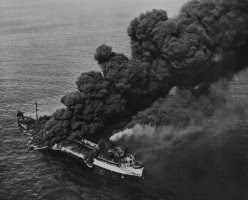 WW2 Battle of Atlantic - U.S. oiler SS Pennsylvania Sun torpedoed by the German submarine U-571 on 15 July 1942