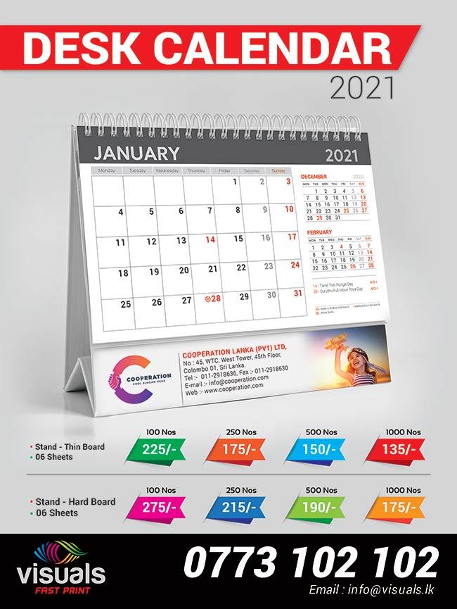 Desk Calendar 2021.