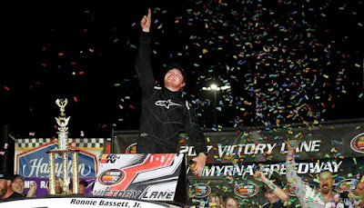 Ronnie Bassett celebrated in Victory Lane at Florida's New Smyrna Speedway  - Race One 2017 NASCAR K&N Pro Series East winner.