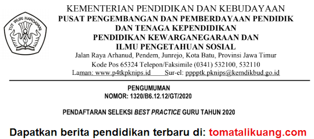 pendaftaran best practice guru tahun 2020; pppptkpknips; p4tkpknips; guru sd mi; guru mapel pkn smp mts sma ma smk mak ; tomatalikuang.com
