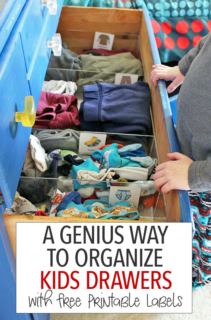 Organize your dresser with this genius solution and teach kids how to put their clothes away too! This is the perfect tool for keeping kids clothes organized and for teaching them to help with laundry - maximize your space and minimize your stress. Includes free printable kids clothes labels too!