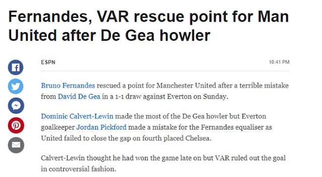 """MU được Fernandes & VAR giải cứu: Báo Anh chê De Gea, Roy Keane đòi """"xử"""" 1"""