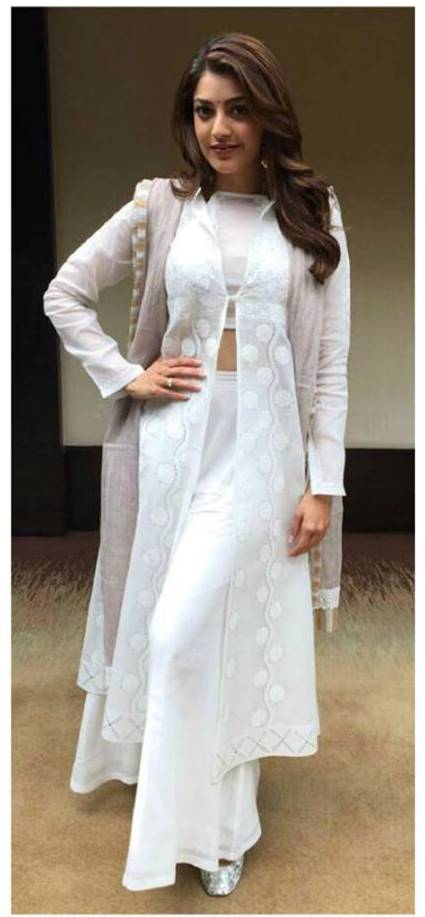Kajal Aggarwal Long Hair Photo shoot In White Dress 2017