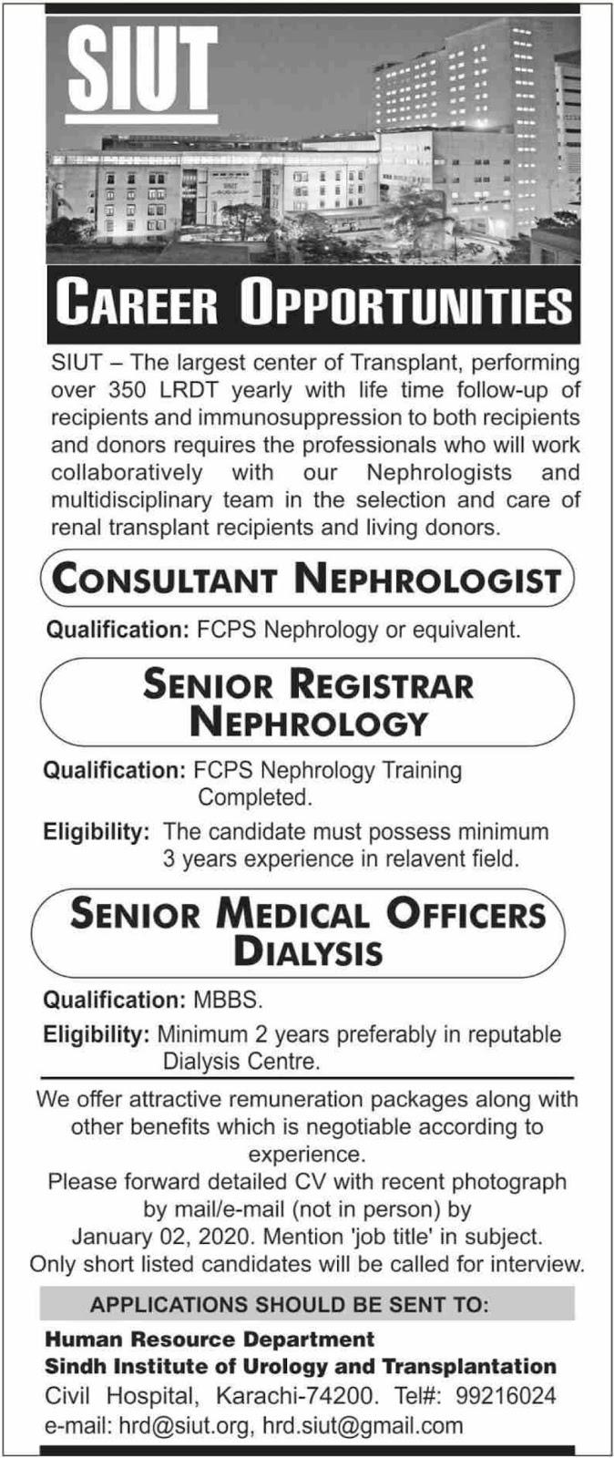 Sindh Institute of Urology & Transplantation SIUT Karachi Jobs 2019 Latest