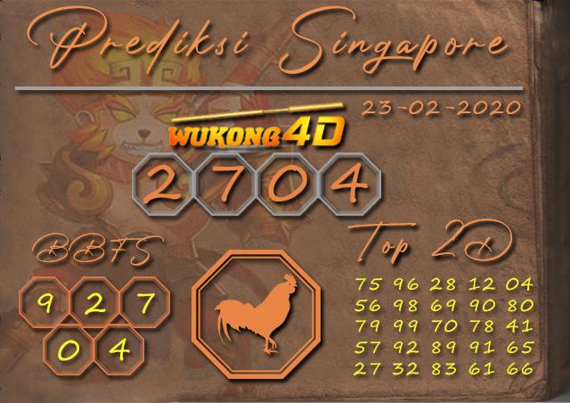 Prediksi Togel SINGAPORE WUKONG4D 23 FEBRUARI 2020