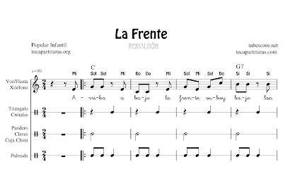 La frente Partitura de Xiolónfo y Pequeña Percusión (Pandero, Claves, Crótalos, Triángulo, Caja China...) o Pequeña Percusión (Palmas) y Flauta Violín Oboe