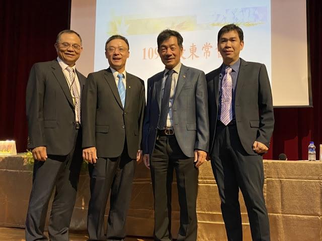 鈊象商用事業群總經理陳阿見(左一)、董事長李柯柱(左二)、總經理江順成(右二)、線上遊戲事業處處長楊慶安(右一)一同出席2020年股東會。