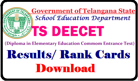 TS DEECET 2019 Rank Cards , Results for TS DIETCET Admissions (TS TTC) TS DEECET 2019 Rank Cards , Results for TS DIETCET Admissions TSDEECET 2019 Rank Cards | Telangana DEECET 2019 Rank Cards| DEECET 2019 Rank Crds will be placed on deecet.cdse.telangana.gov.in . DEECET Results to be released . So, TS DEECET 2019 Rank Cards will be upload on its website. DEECET appeared can download their rank cards at DEECET web portal. TS DEECET Results: June 1st week, 2019/2019/05/ts-deecet-2019-results-telangana-deecet-dietcet--rankcards-results-download-deecet.cdse.telangana.gov.in.html