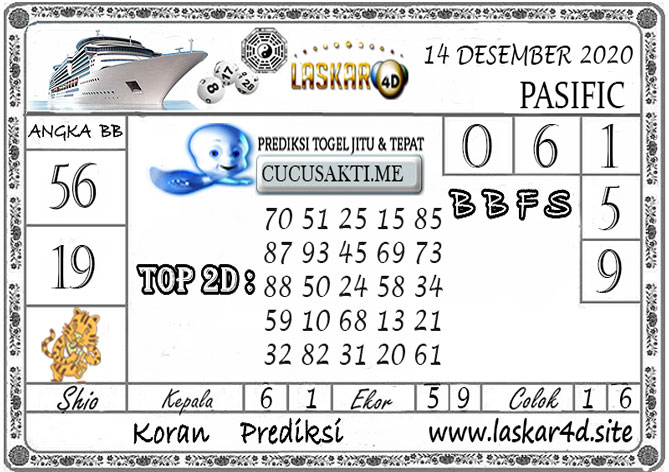 Prediksi Togel PASIFIC LASKAR4D 14 DESEMBER 2020