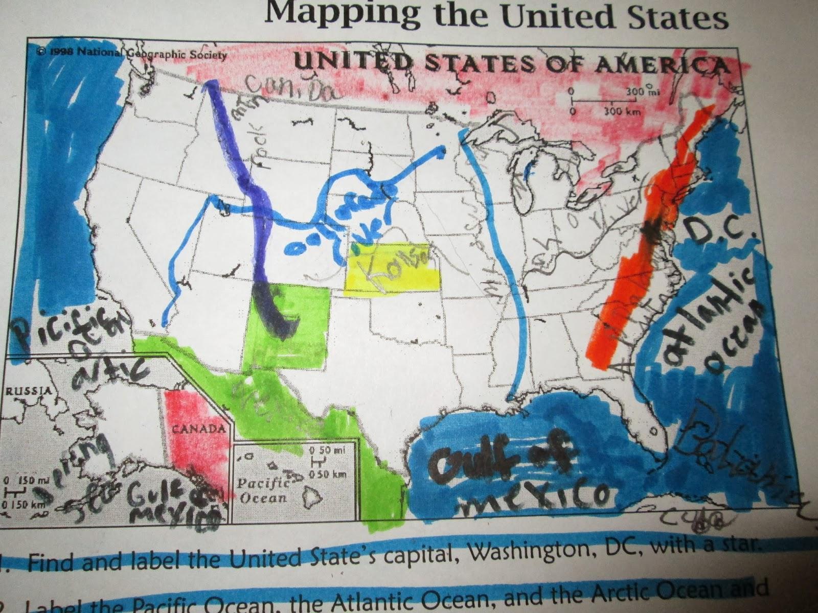 Simple Landform Map Usa