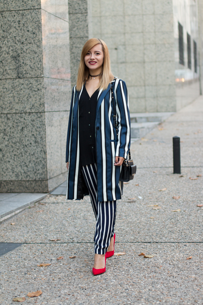 long blazer with stripes