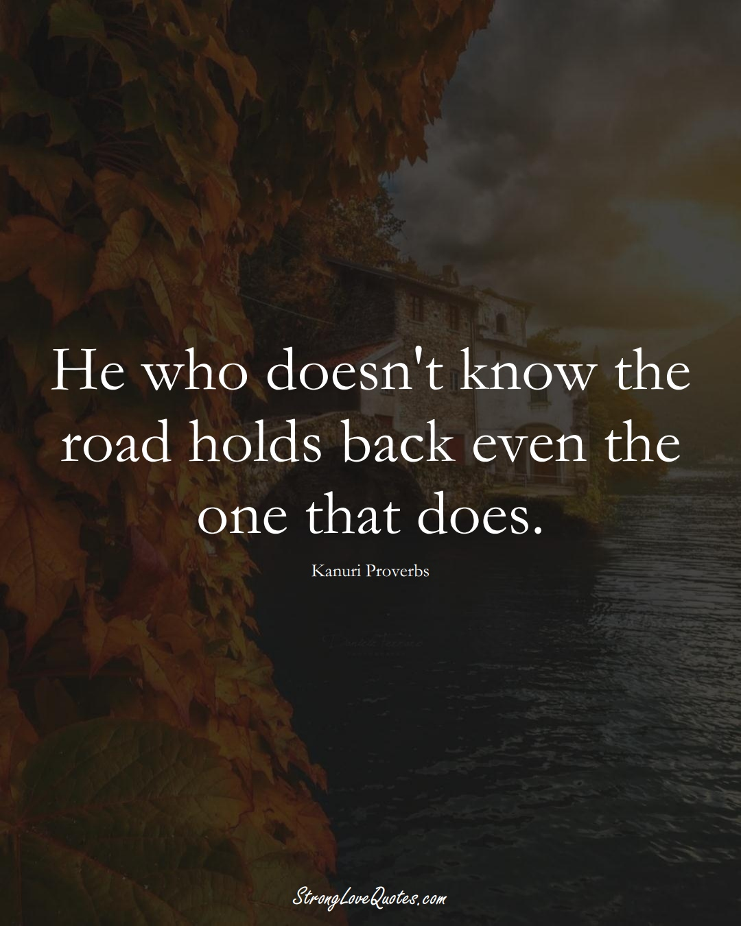 He who doesn't know the road holds back even the one that does. (Kanuri Sayings);  #aVarietyofCulturesSayings