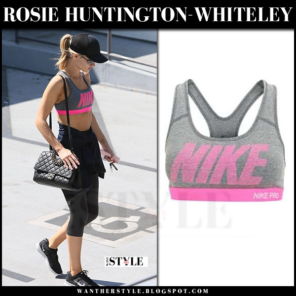 Rosie Huntington-Whiteley in grey and pink sports bra and black leggings nike what she wore