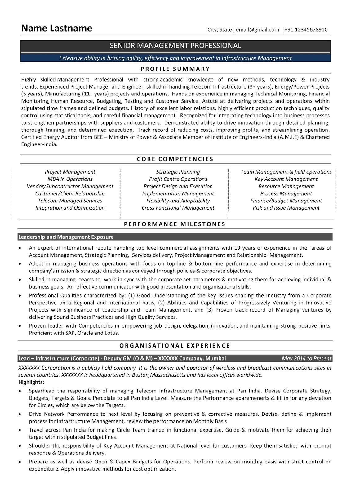 Resume Formats Resume Format Infrastructure Manager Senior