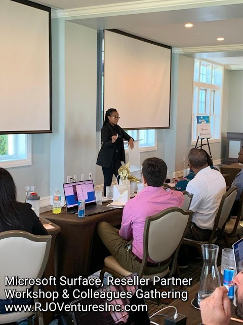 Microsoft Partner representative Leticia Gittens on the current & upcoming #Surface devices & #SaaS/#TaaS deployment. All for the benefit of our clients & customers!