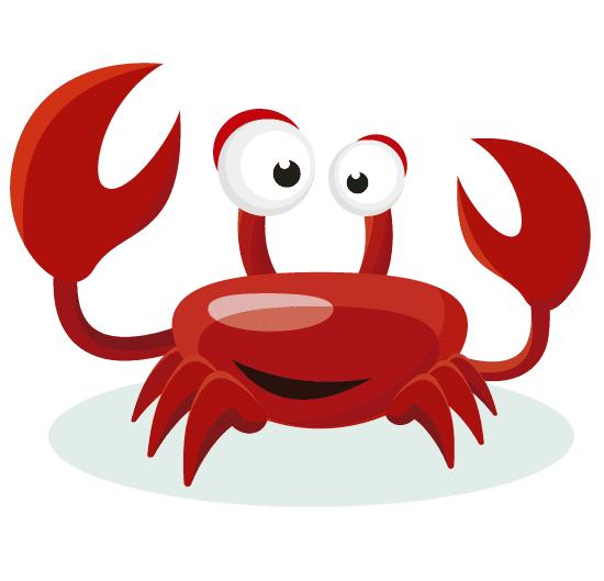 Simpático cangrejo rojo tipo cartoon