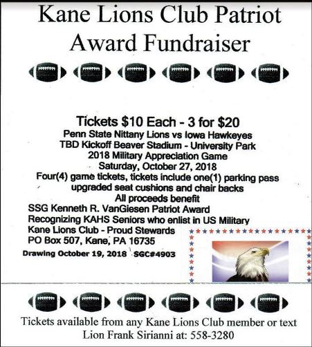 10-27 Kane Lions Club Patriot Award Fundraiser