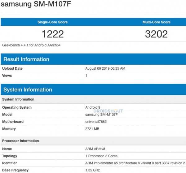 هاتف Galaxy M10s يظهر على منصة Geekbench مع معالج إكسينوس 7885