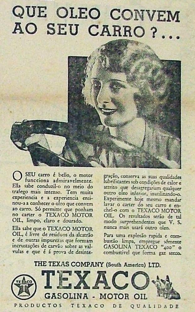 Propaganda antiga da Texaco promovendo sua linha de combustíveis para o ano de 1932