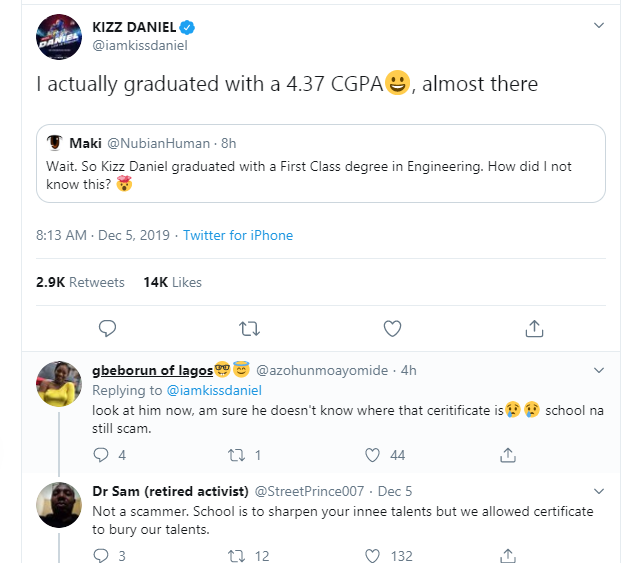 Kizz Daniel reveals the CGPA he graduated with from FUNAAB