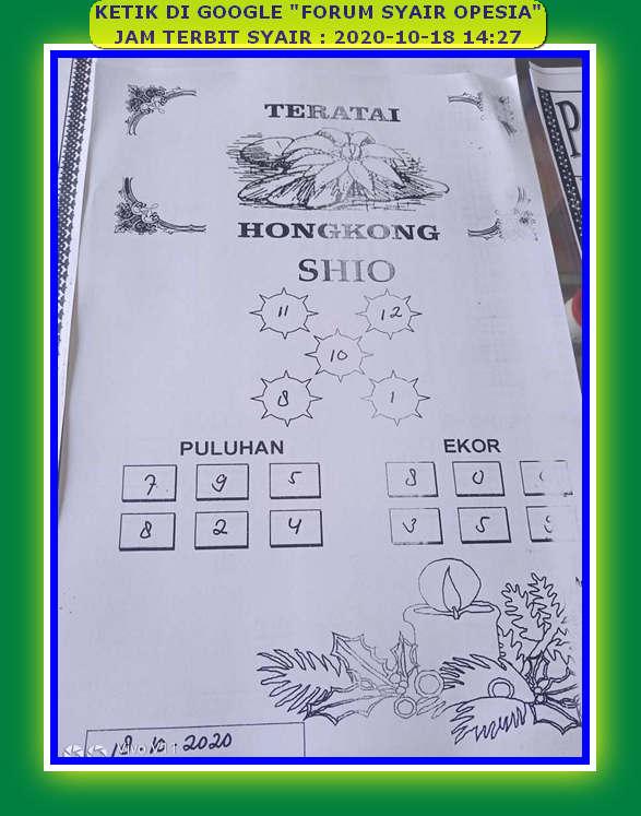 Kode syair Hongkong Minggu 18 Oktober 2020 116