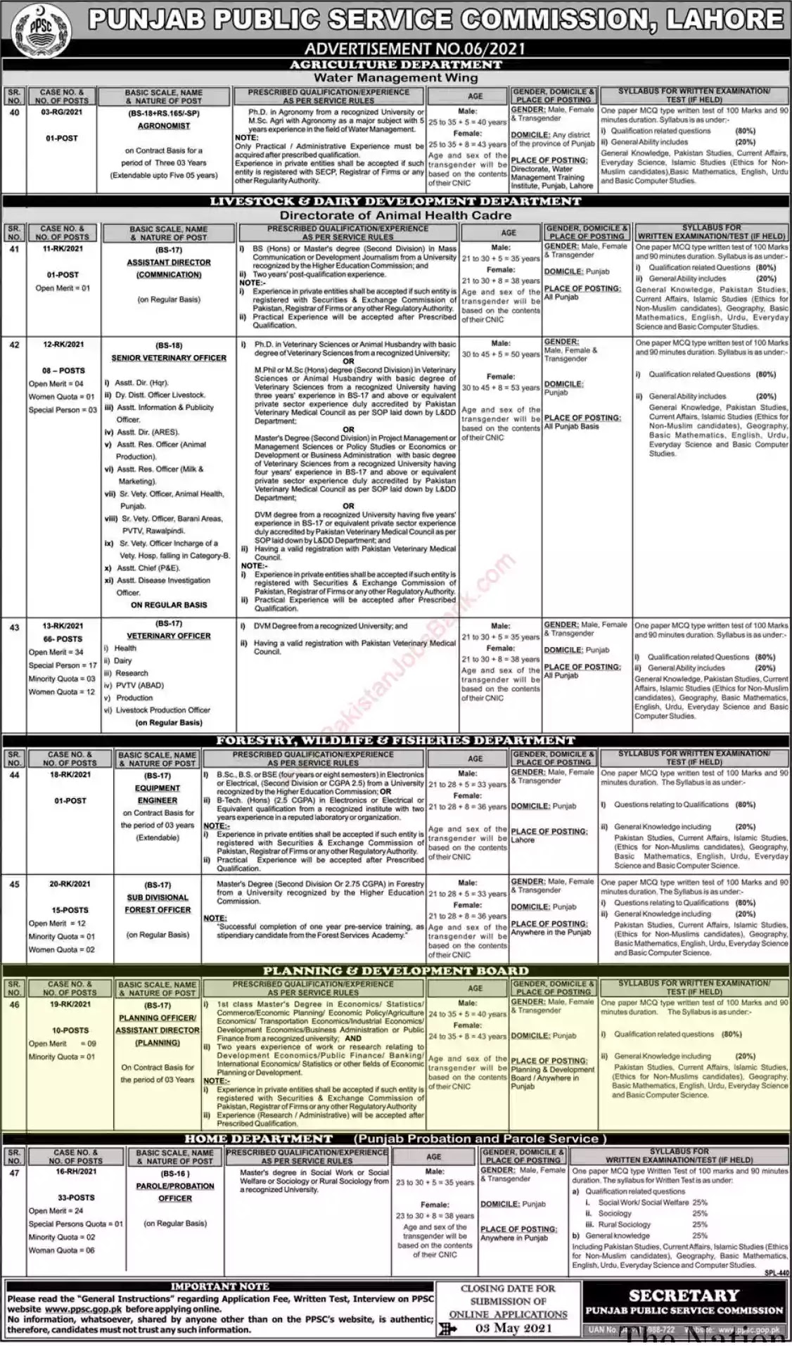 New Jobs in Pakistan Livestock and Dairy Development Department Punjab Jobs 2021 | Apply Online