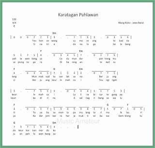 not angka lagu karatagan pahlawan lagu daerah jawa barat