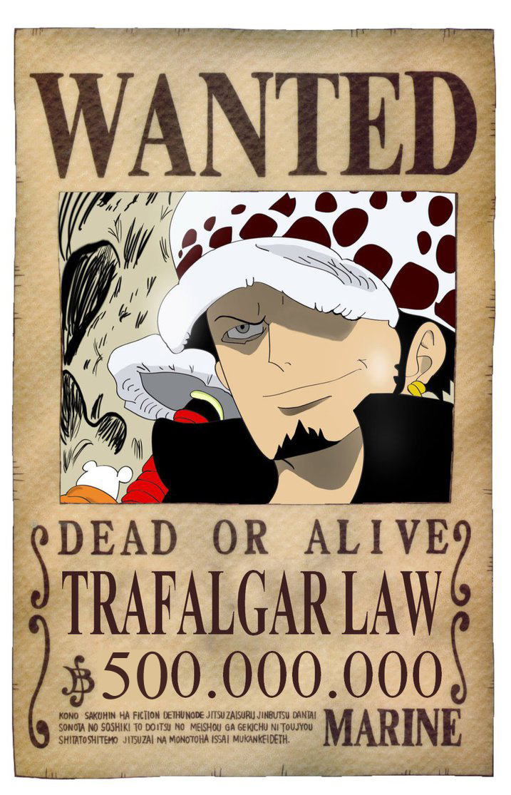WANTED DEAD OR ALIVE TRAFALGAR LAW