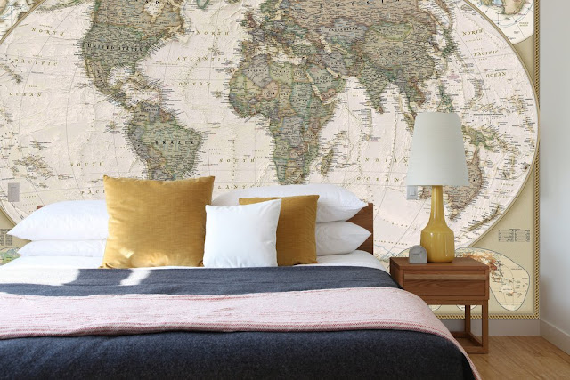 världskarta tapet gammal fototapet sovrum sovrumstapet