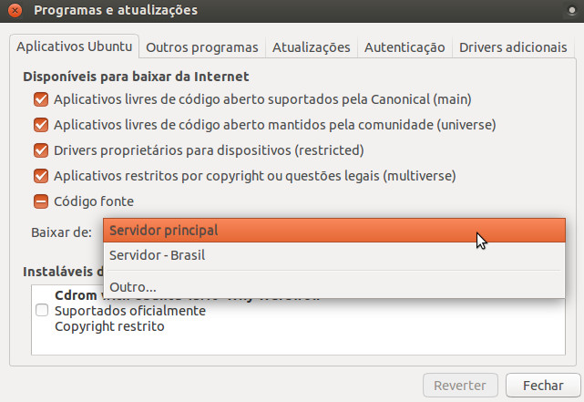 central de programas alterar canais de software para o servidor principal