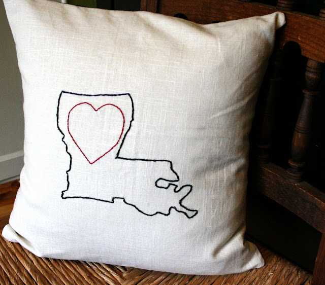 state outline love embroidery cushion