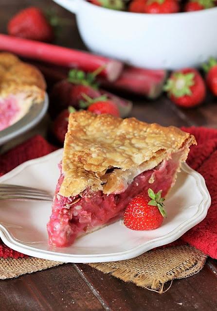 Slice of Strawberry Rhubarb Pie Image