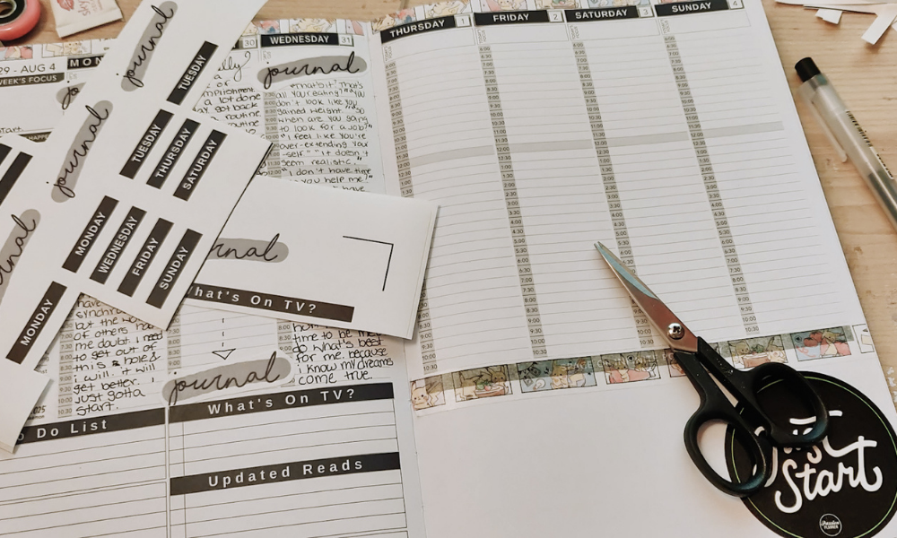 hand cutting planner stickers i designed myself