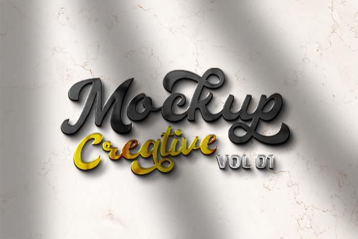Front 3D Creative PSD Logo Mockup