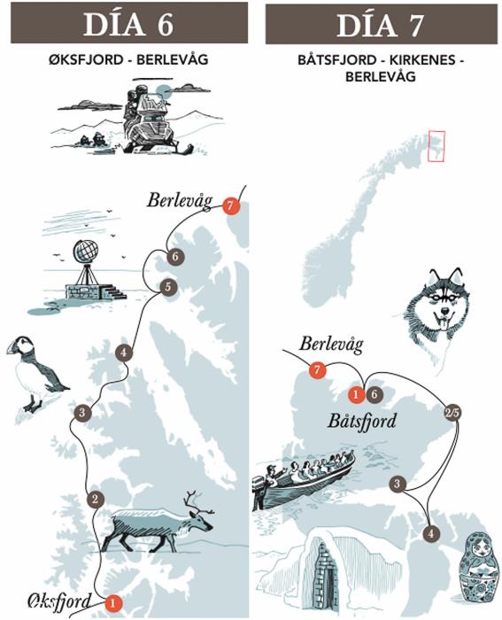Recorrido dia 6 y 7 del trayecto de Hurtigruten. Cabo norte y Kirkenes