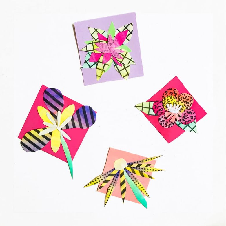mini painted flower collages