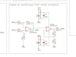 Circuito das etapas de amplificação final da saída analógica.
