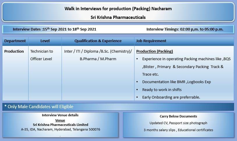 Sri Krishna Pharmaceuticals Limited  Recruitment 2021 10th Pass, ITI, Diploma, B.Sc, B.Pharma, M.Pharma for Production Department
