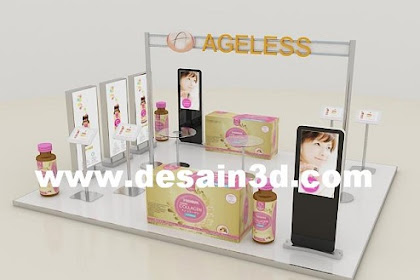 Jasa desain 3d Booth kecantikan lokasi di mall